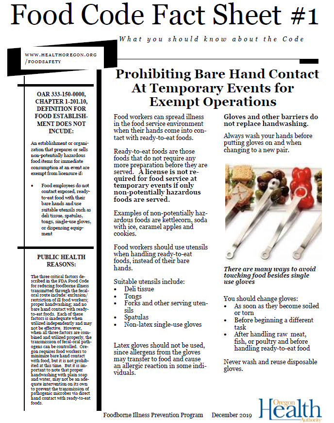 Prohibiting Bare Hand Contact temporary events info
